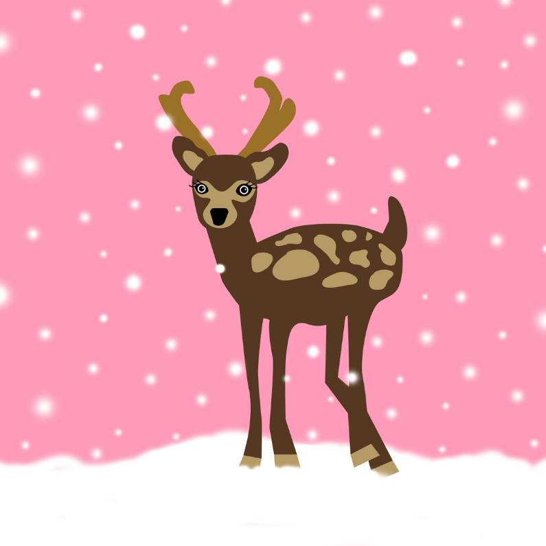 Kerstkaarten - Kerstkaart Hertje in Sneeuw Roze