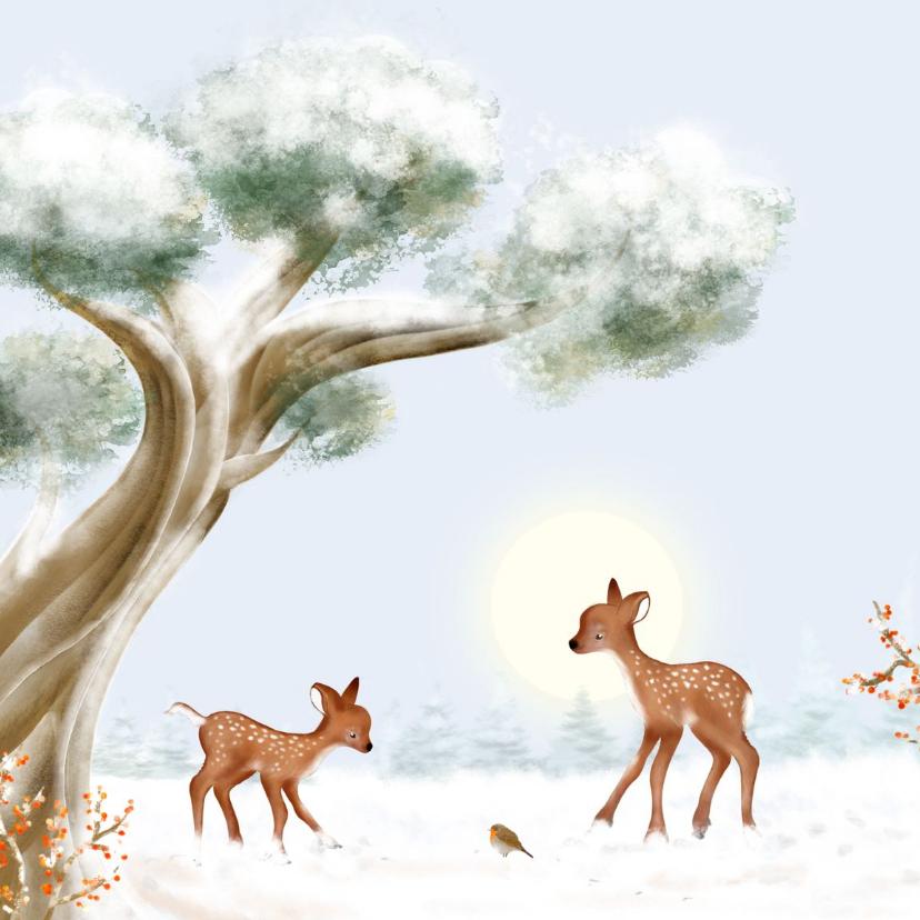 Kerstkaarten - Kerstkaart hertjes en roodborst in de sneeuw