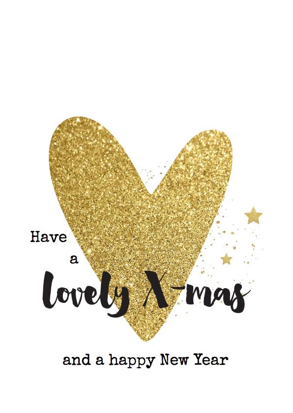 Kerstkaarten - Kerstkaart hip - hart goud