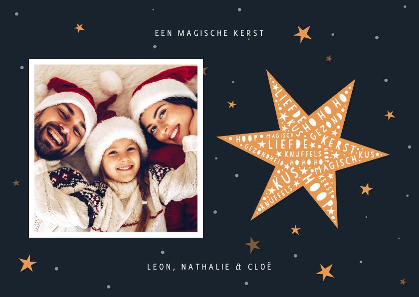 Kerstkaarten - Kerstkaart hip met foto en ster met woorden