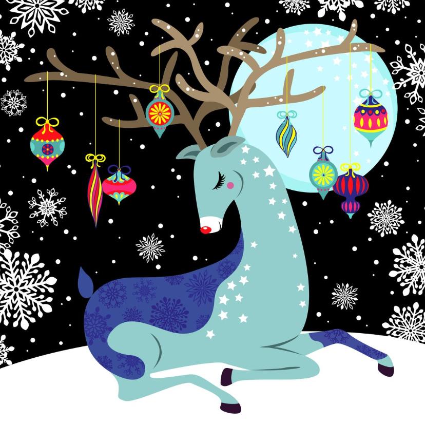 Kerstkaarten - Kerstkaart hip met rendier in de sneeuw