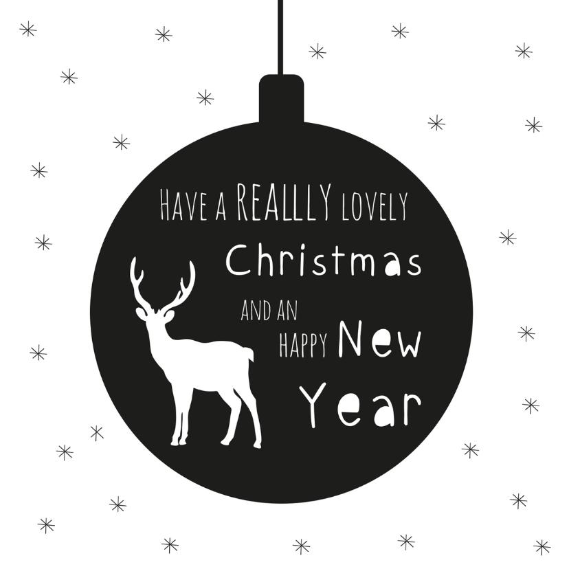 Kerstkaarten - Kerstkaart hippe deer en bal