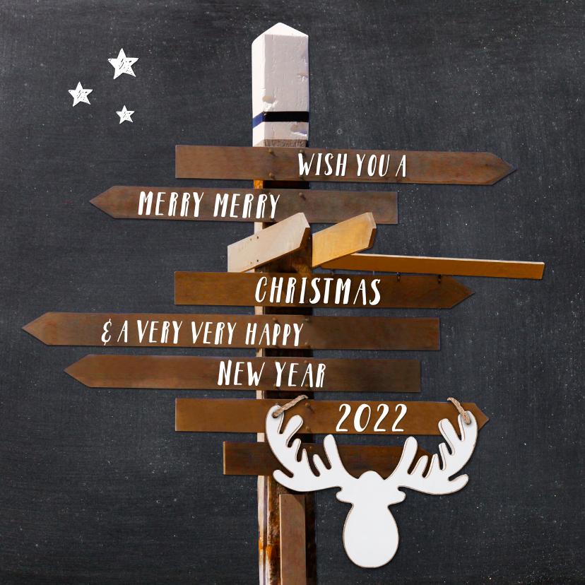Kerstkaarten - Kerstkaart Hippe  wegwijzer krijtbord