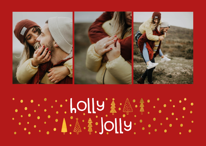 Kerstkaarten - Kerstkaart 'holly jolly' goudlook met foto's