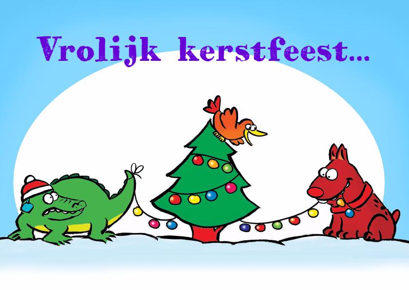 Kerstkaarten - Kerstkaart Hond en Krokodil