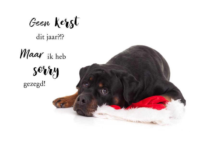 Kerstkaarten - Kerstkaart hond Rottweiler met kerstmuts van de kerstman