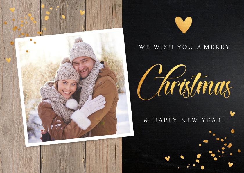 Kerstkaarten - Kerstkaart hout donker confetti goudlook foto