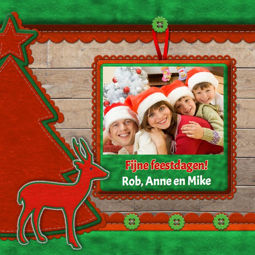Kerstkaarten - kerstkaart - Hout en foto