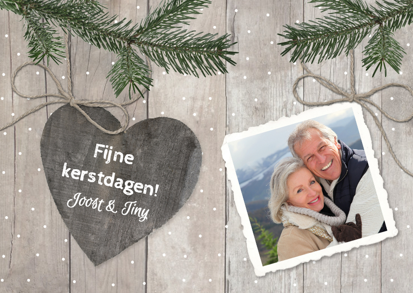 Kerstkaarten - Kerstkaart Hout Hart Dennen