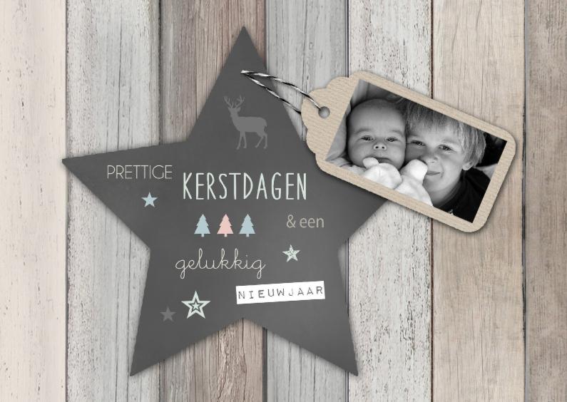 Kerstkaarten - Kerstkaart hout label ster - BC