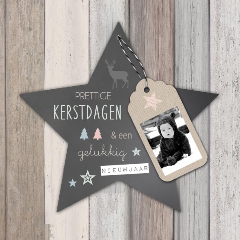 Kerstkaarten - Kerstkaart hout ster label - BC