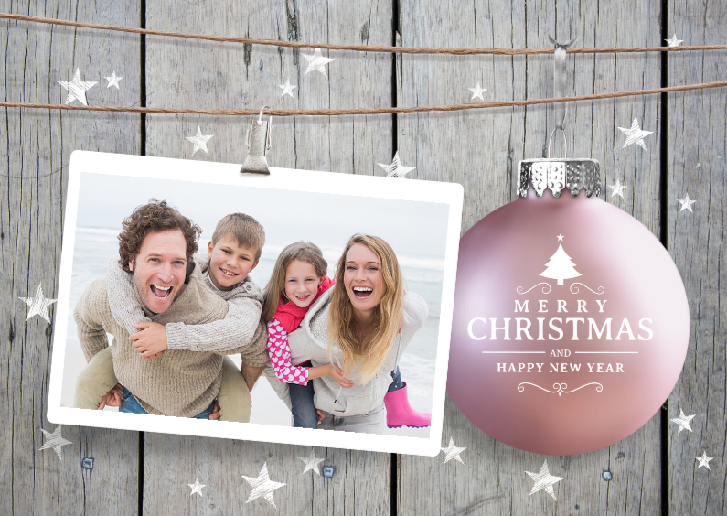 Kerstkaarten - Kerstkaart hout sterren kerstbal