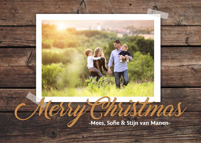 Kerstkaarten - Kerstkaart houten achtergrond met foto