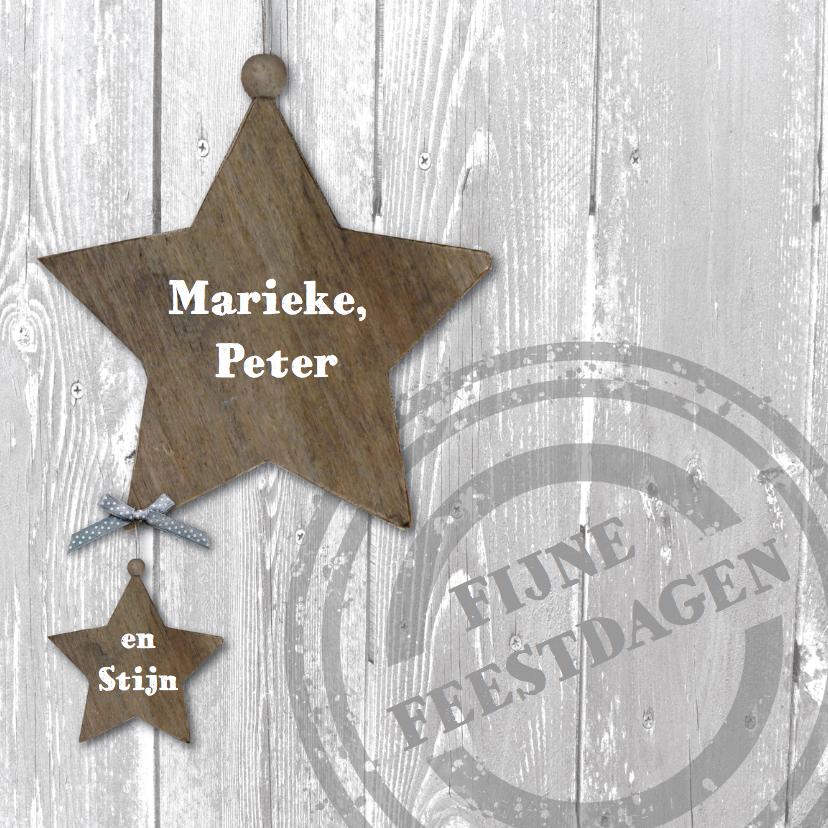 Kerstkaarten - Kerstkaart houten sterren