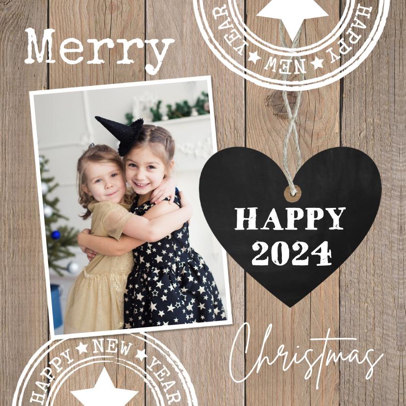 Kerstkaarten - Kerstkaart houtlook hartje foto stempels