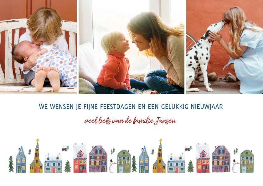 Kerstkaarten - Kerstkaart huisjes rij 3 foto collage