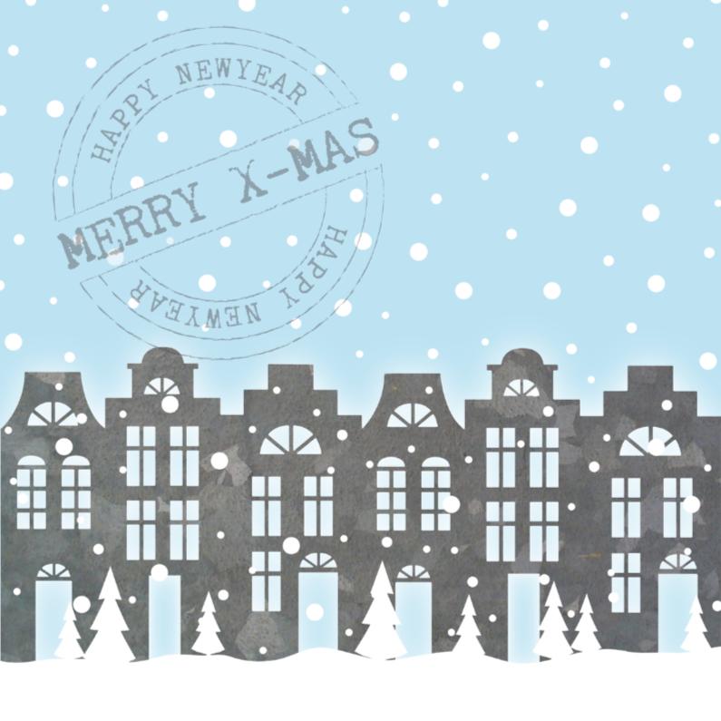 Kerstkaarten - Kerstkaart huisjes sneeuw