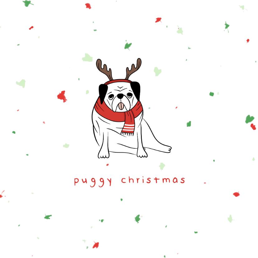 Kerstkaarten - Kerstkaart humor puggy christmas met confetti