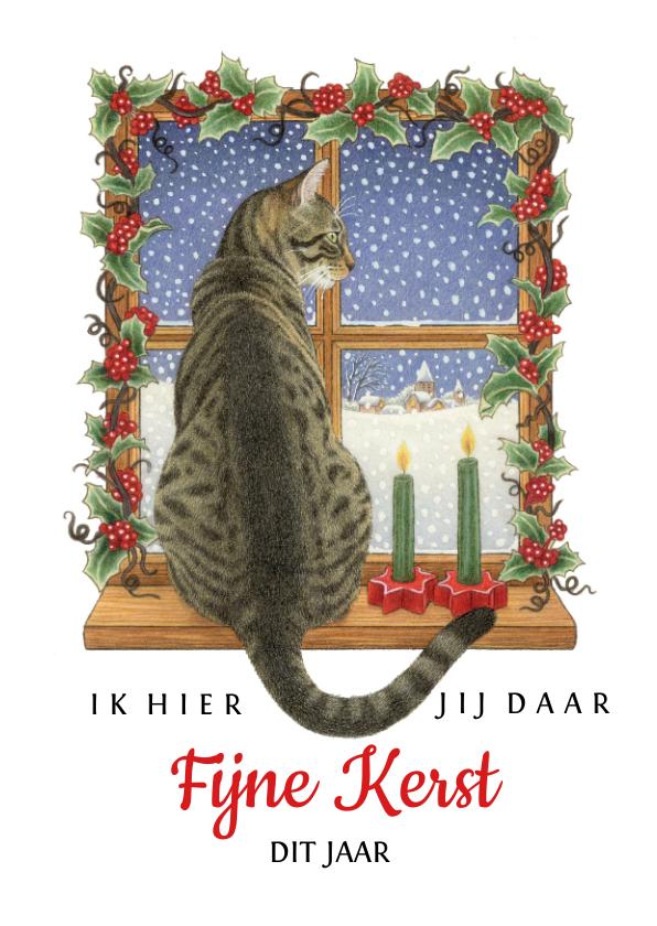 Kerstkaarten - Kerstkaart ik hier jij daar fijne kerst dit jaar