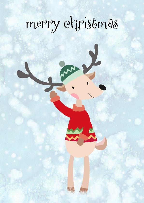 Kerstkaarten - Kerstkaart illustratie aangekleed hert