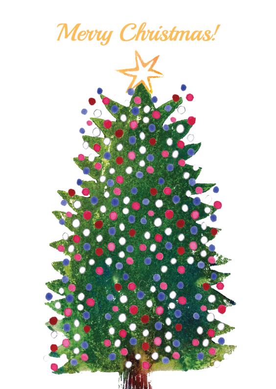 Kerstkaarten - Kerstkaart illustratie boom bal