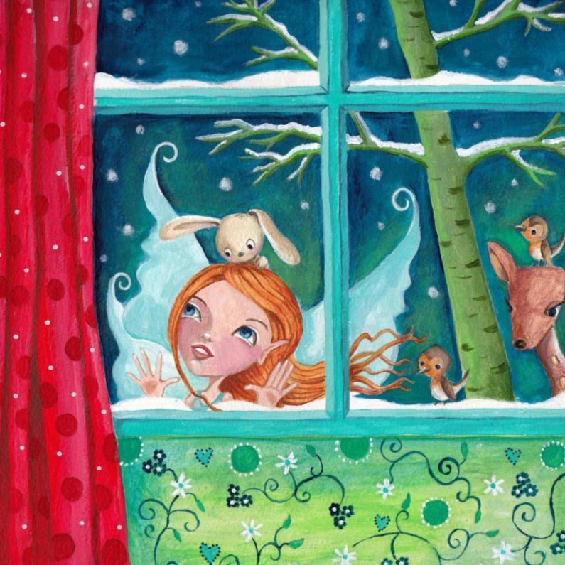 Kerstkaarten - Kerstkaart Illustratie Engel Raam S