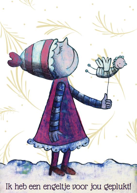 Kerstkaarten - Kerstkaart illustratie engeltje