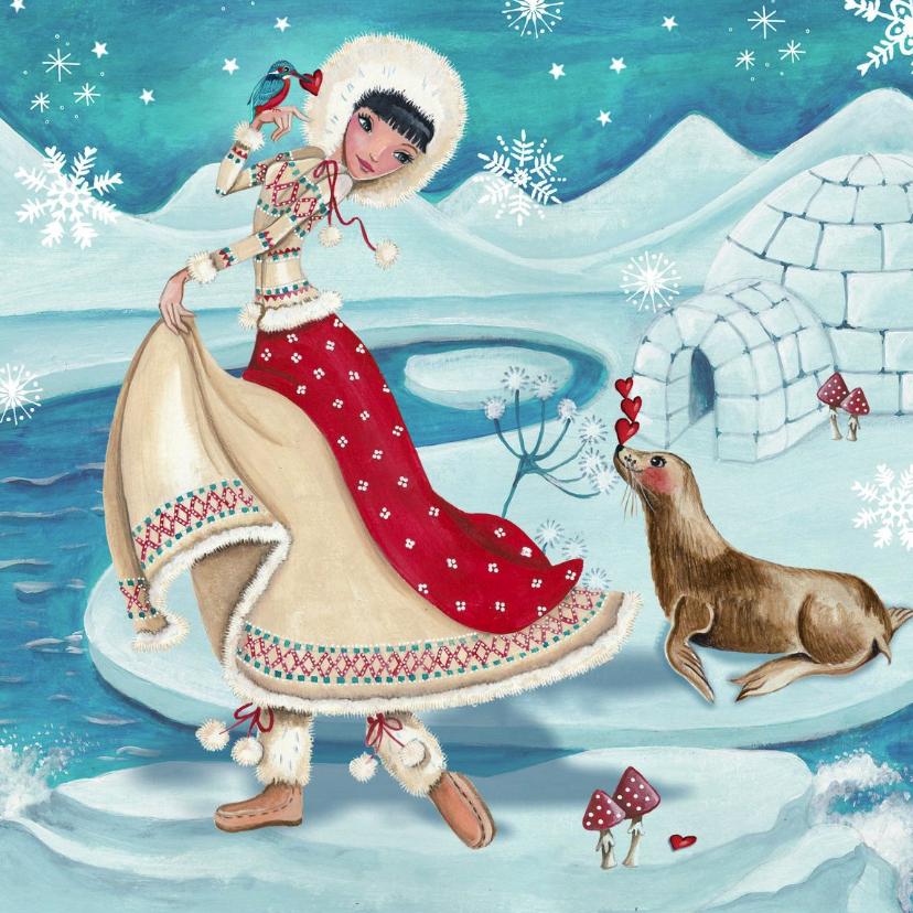 Kerstkaarten - Kerstkaart Illustratie Eskimo