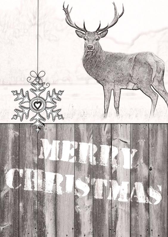 Kerstkaarten - Kerstkaart Illustratie Hert - JD
