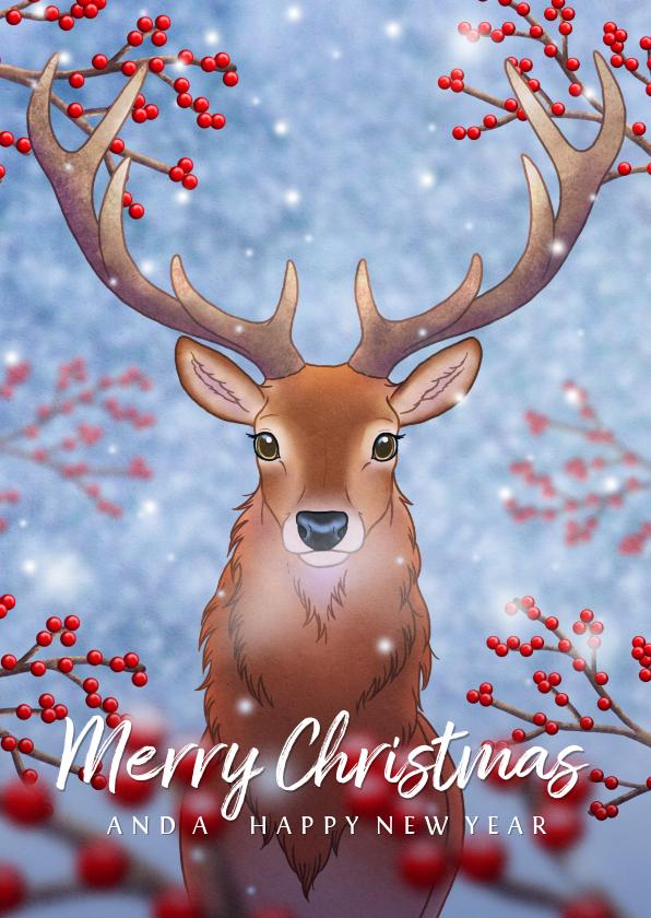 Kerstkaarten - Kerstkaart illustratie hert met hulst besjes