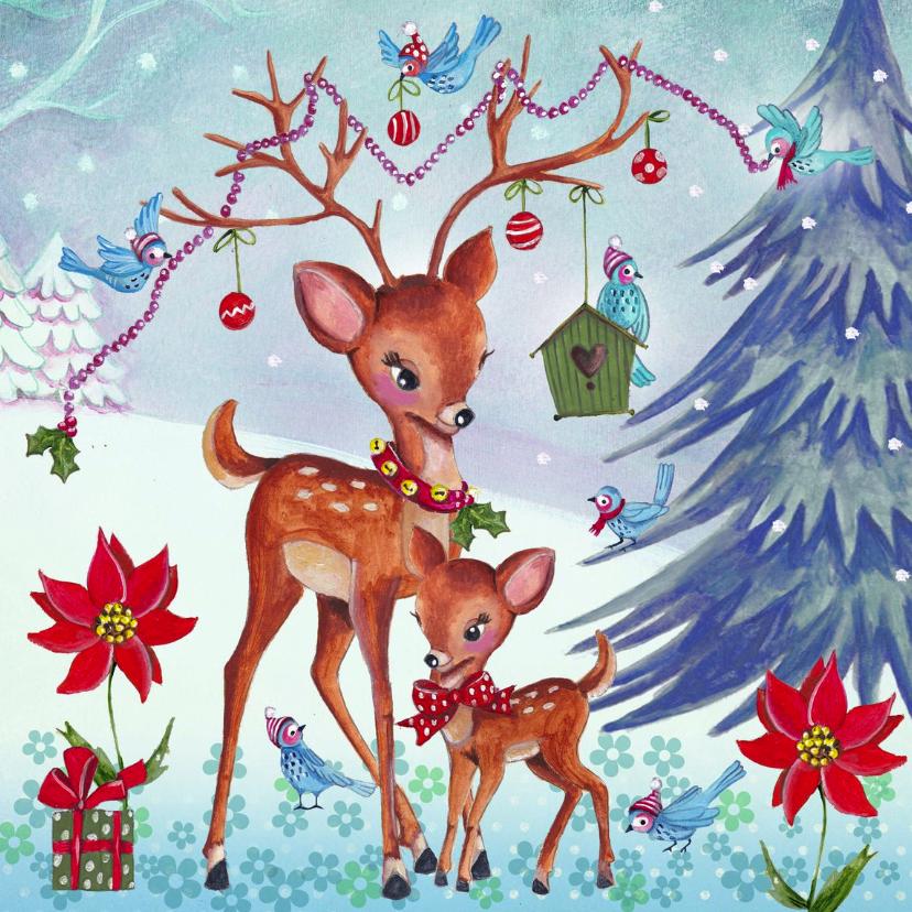 Kerstkaarten - Kerstkaart Illustratie Hertjes