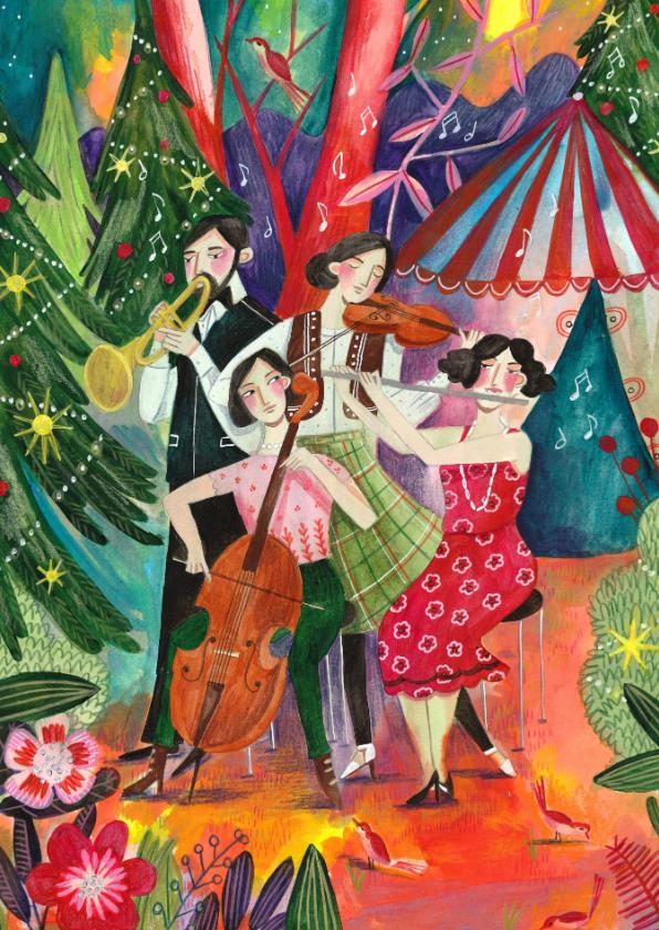 Kerstkaarten - Kerstkaart illustratie kerstbomen en muziek