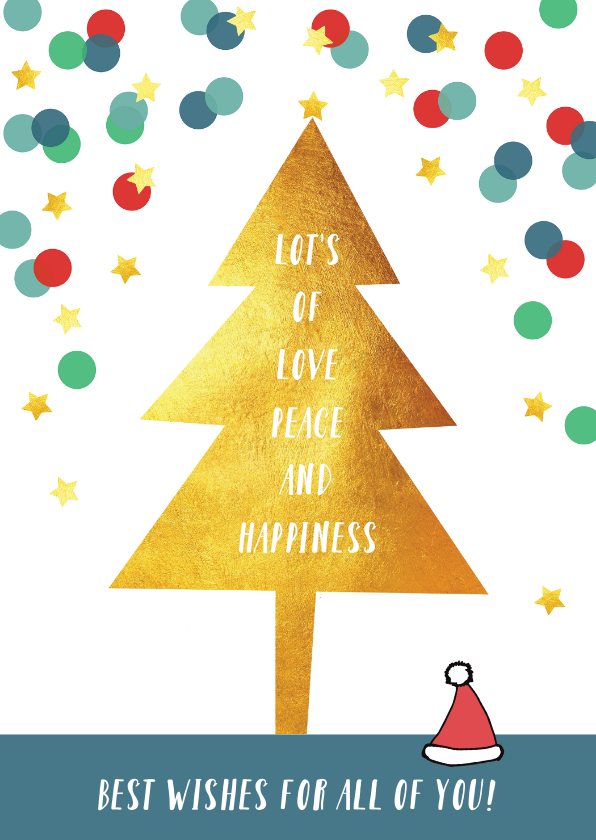 Kerstkaarten - Kerstkaart illustratie kerstboom confetti