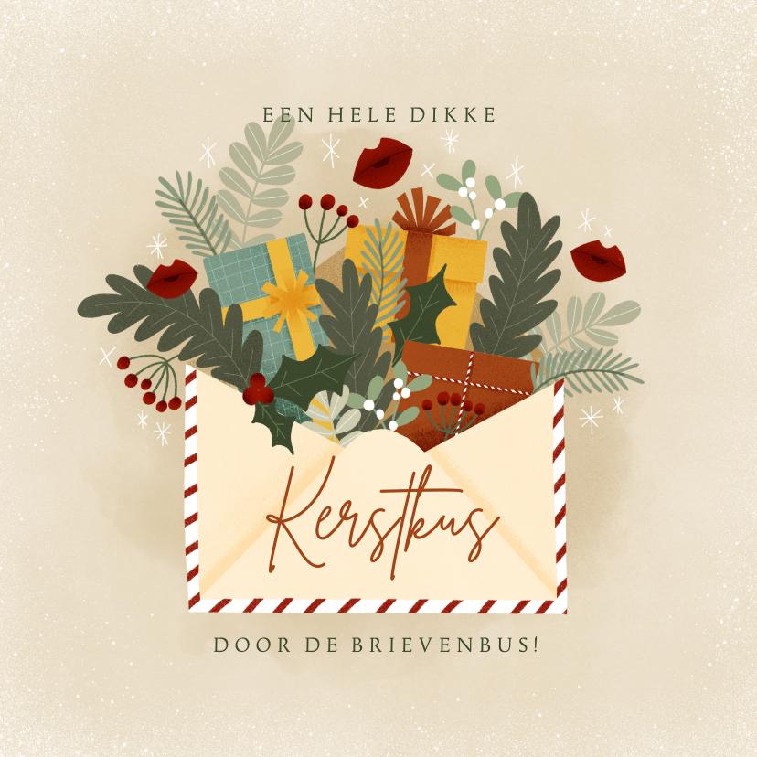 Kerstkaarten - Kerstkaart illustratie kerstkus door de brievenbus, kusjes