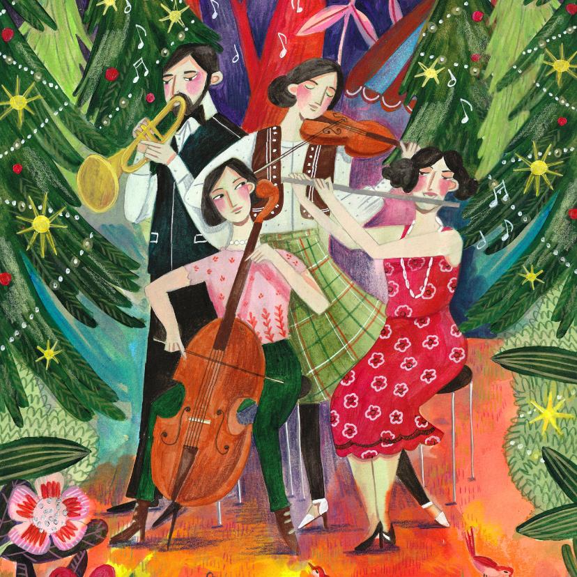 Kerstkaarten - Kerstkaart illustratie muziek in het kerst bos