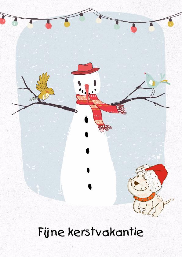 Kerstkaarten - Kerstkaart illustratie sneeuwpop