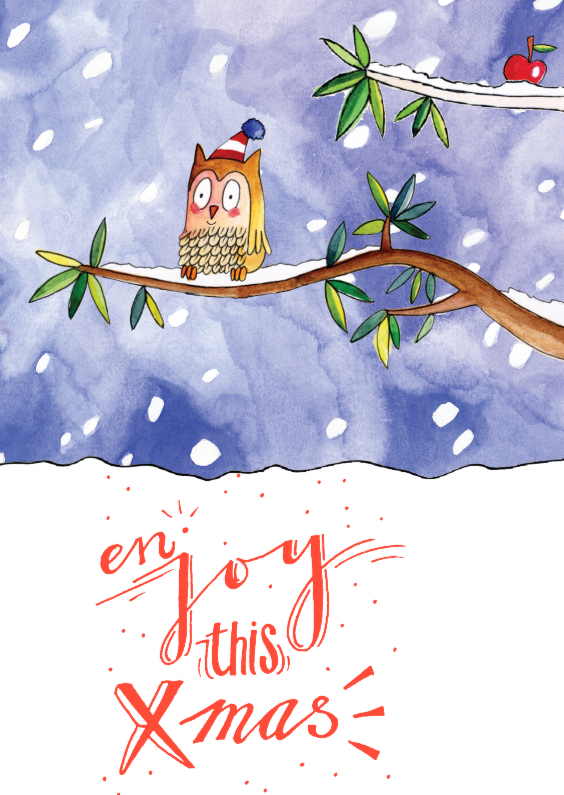 Kerstkaarten - Kerstkaart illustratie uil snow