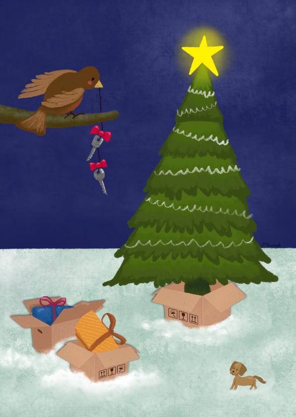 Kerstkaarten - Kerstkaart illustratie verhuisdozen bij kerstboom avond
