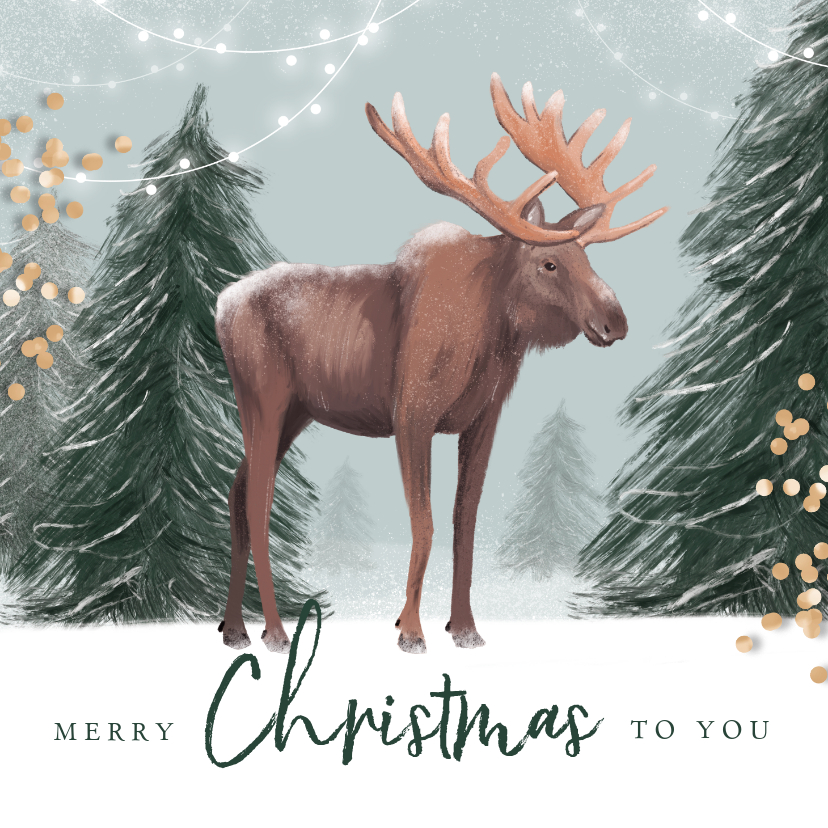 Kerstkaarten - Kerstkaart illustratie winter eland hert lampjes confetti
