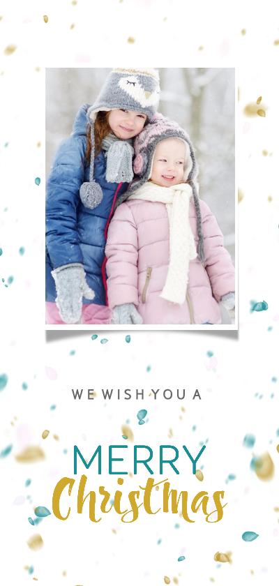 Kerstkaarten - Kerstkaart in trendy kleuren met sneeuw en toffe foto isf