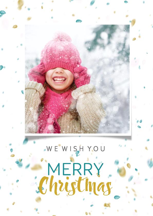 Kerstkaarten - Kerstkaart in trendy kleurige sneeuw en 2 toffe foto's isf