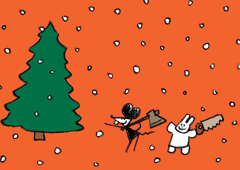 Kerstkaarten - Kerstkaart Joep & Hop in bos