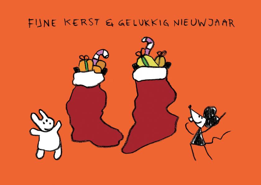 Kerstkaarten - Kerstkaart Joep & Hop kerstsok