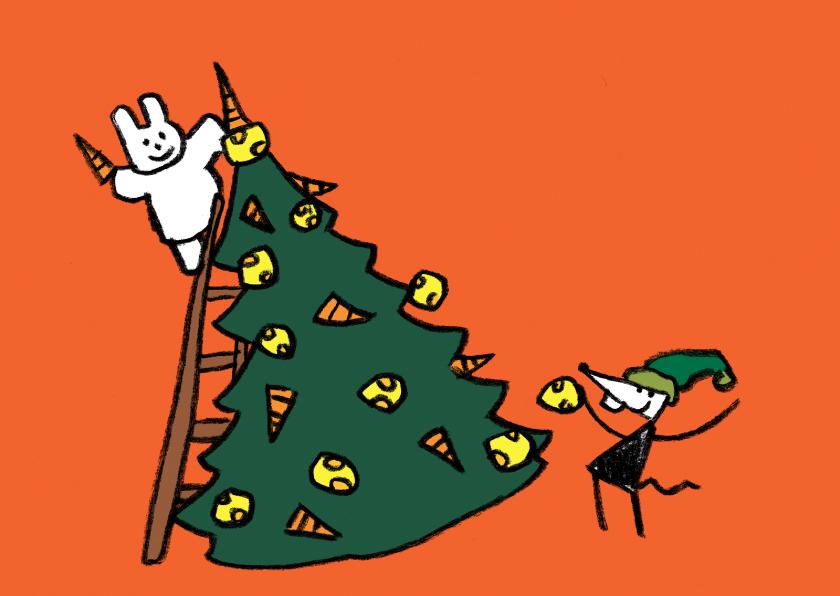 Kerstkaarten - Kerstkaart Joep & Hop versieren