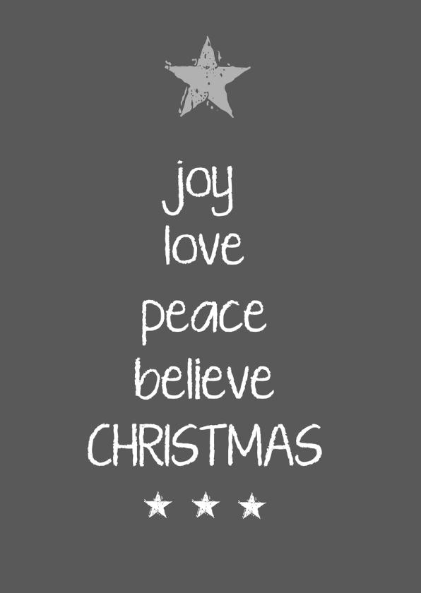 Kerstkaarten - Kerstkaart joy love peace