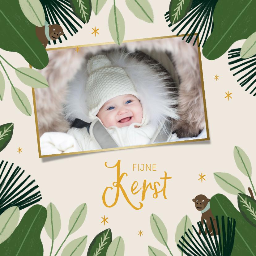 Kerstkaarten - Kerstkaart jungle bells met foto en aapjes