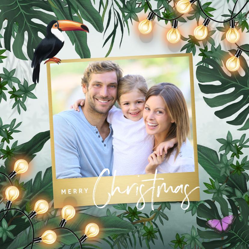 Kerstkaarten - Kerstkaart jungle lampjes bladeren groen goud foto