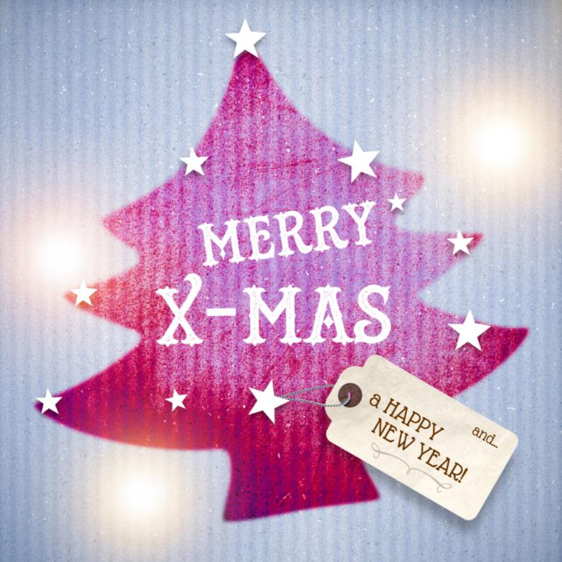 Kerstkaarten - Kerstkaart-Karton-kerstboom-paars