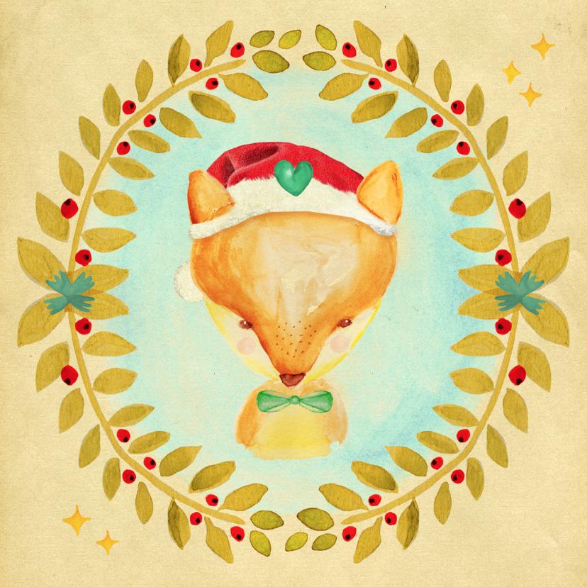 Kerstkaarten - Kerstkaart Kerst vosje