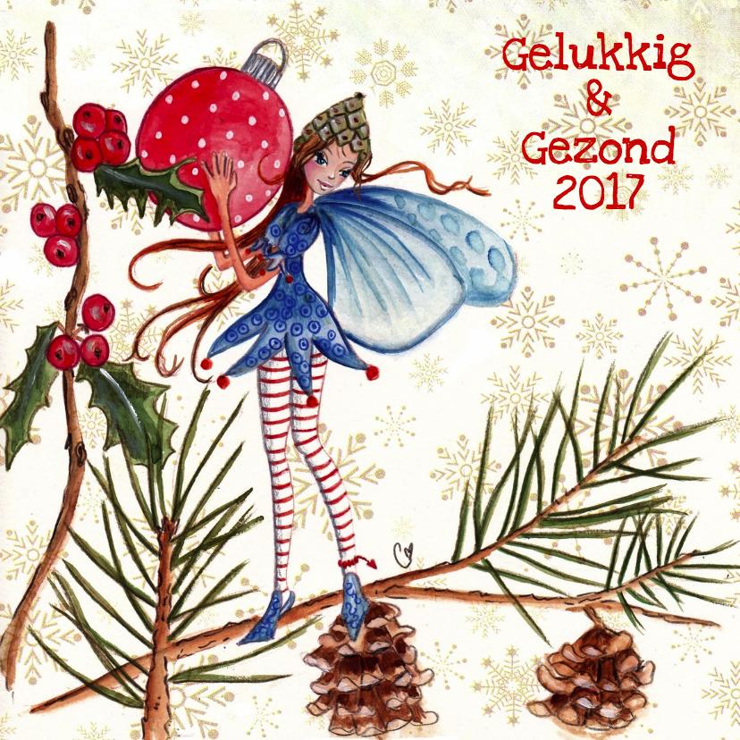 Kerstkaarten - Kerstkaart Kerstbal ELFJE Illustratie